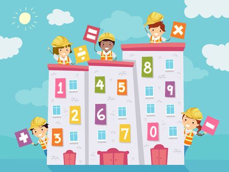 Kids Wearing Yellow Hard Hats Holding Math Operators with Buildings with Numbers