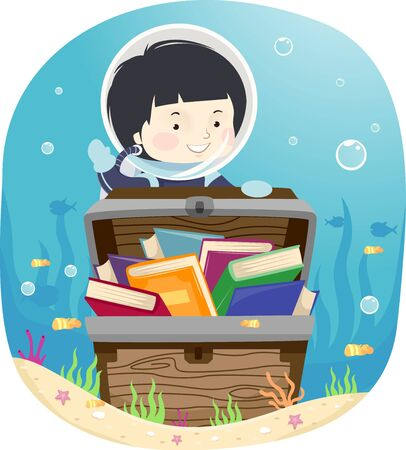 Kid Boy Wearing Scuba Diving Suit and Opening a Treasure Chest Full of Books