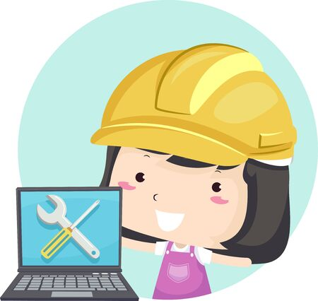 Kid Girl Wearing a Yellow Hard Hat and Showing a Laptop with Screwdriver and Wrench on Screen