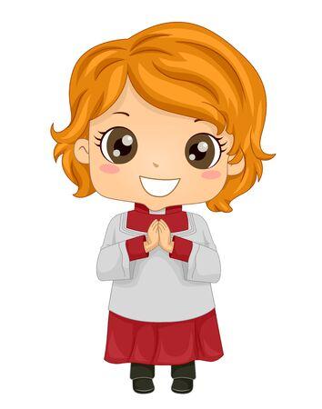 Kid Girl Altar Server with Hands Together