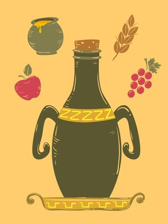 Amphora or an Ancient Jar with Two Handles Used for Storage, with Apple, Grapes, Wheat and Honey