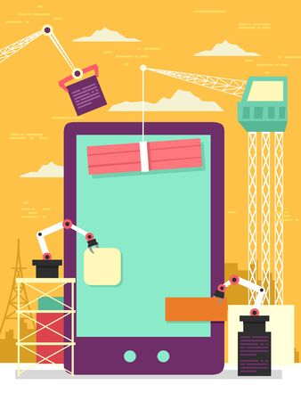 Mobile Phone with Construction Cranes Building a Mobile App Concept