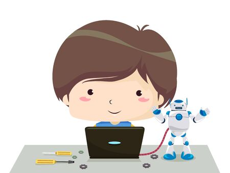 Kid Boy Using a Laptop and Programming a Robot Toy
