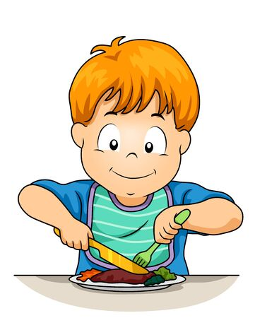 Kid Boy Using Knife and Fork While Eating