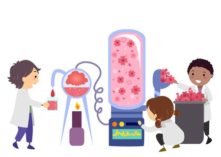 Illustration of Stickman Kids Wearing Laboratory Gown Experimenting with Making Colors from Flowers