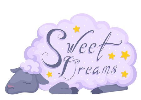 Illustration of a Sleeping Sheep with Sweet Dreams Lettering and Stars