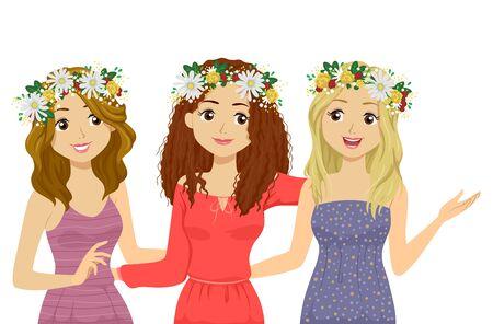 Illustration of Teenage Girls Wearing Floral Head Wreath to Celebrate Midsummer Festival Stok Fotoğraf