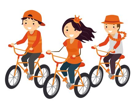 Illustration of Stickman Teenage Girl and Guy Wearing Orange Outfit and Riding a Bike During Kings Day Фото со стока
