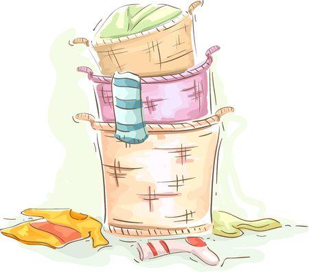 Illustration of a Stack of Basket Full of Sorted Laundry Stok Fotoğraf