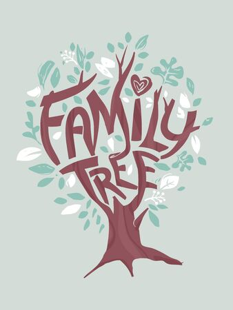 Illustration of a Tree with Family Tree Lettering on Branches