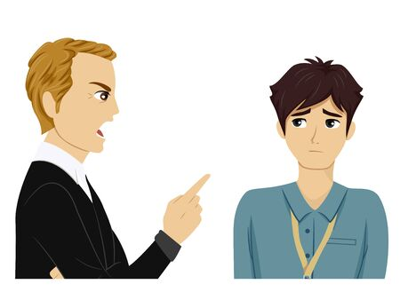 Illustration of a Teenage Guy Intern Being Scolded by His Boss