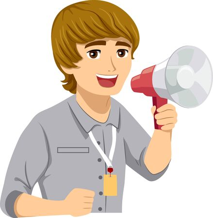 Illustration of a Teenage Guy Intern Shouting and Using a Megaphone Archivio Fotografico