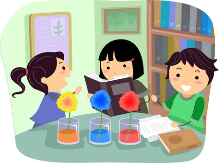 Illustration of Stickman Kids Conducting an Experiment with Flowers Absorbing Different Colors Inside the Glasses