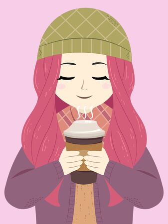 Illustration of a Teenage Girl Wearing Winter Clothes, Holding and Sniffing the Smell of a Hot Coffee