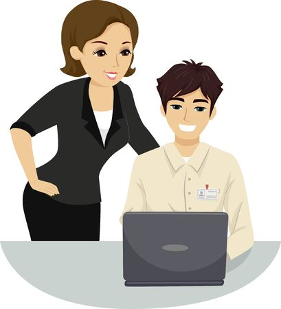 Illustration of a Teenage Guy Intern Assisting an Older Woman in Using their Computer