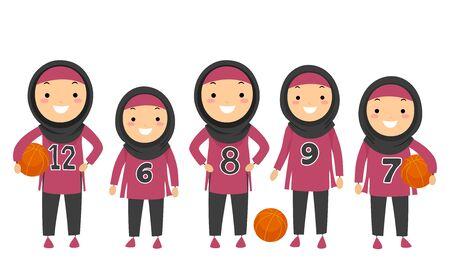 Illustration of Stickman Kids Muslim Girls Wearing Hijab and Basketball Team Uniform Banque d'images - 130368012