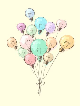 Illustration of Different Colored Light Bulbs Tied Together Like Balloons 写真素材