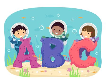 Illustration of Stickman Kids Wearing Scuba Diving Suits Standing Behind ABC Corals Banque d'images - 130368074