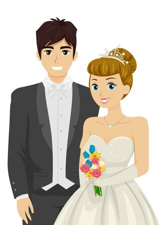 Illustration of Teenage Girl and Guy Wearing Formal Clothes and Holding Bouquet as Debutant