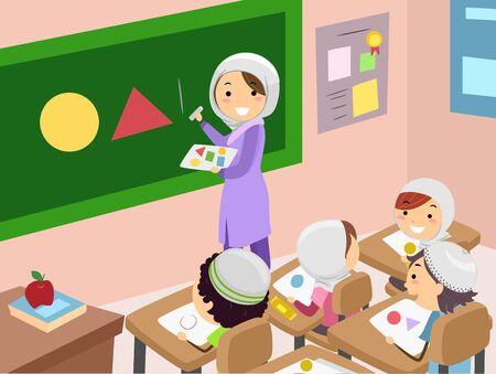 Illustration of Stickman Muslim Kids Listening to their Teacher Drawing Different Shapes in Class 写真素材