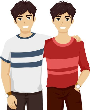 Illustration of Twin Boys in Teenage Years Wearing Different Clothes