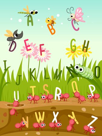 Illustration of Different Insects like Dragonfly, Butterfly, Bee, Beetle, Ants and Caterpillar with the Alphabet