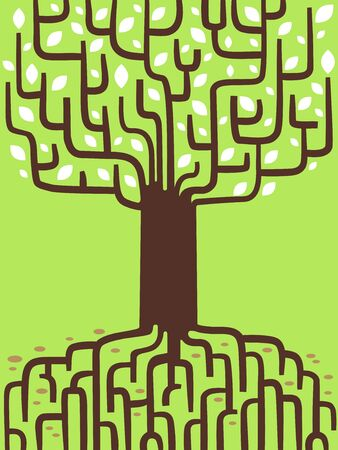 Illustration of a Tree Showing Genealogy Roots and Branches 版權商用圖片