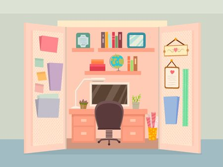 Illustration of an Organized Office Inside a Walk In Closet with Computer, Chair and Files Stock Photo