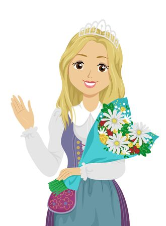 Illustration of a Teenage Girl with Crown Waving Her Hand and Holding a Bouquet of Flowers as a Festival Queen in Sweden Фото со стока
