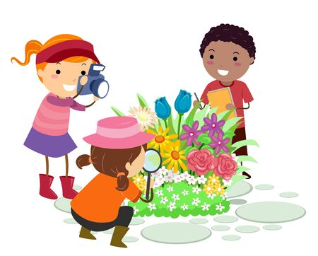 Illustration of Stickman Kids Taking Photo and Notes and Using a Magnifying Glass and Looking at Flowers in the Garden
