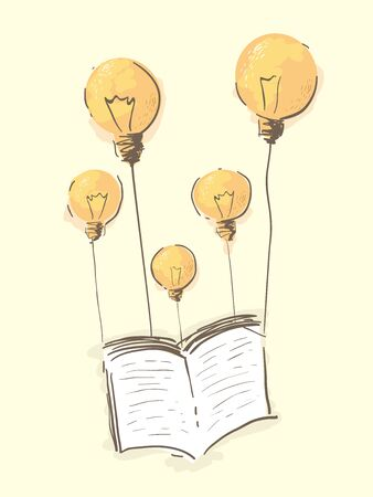 Illustration of Light Bulbs as Balloons Carrying an Open Book