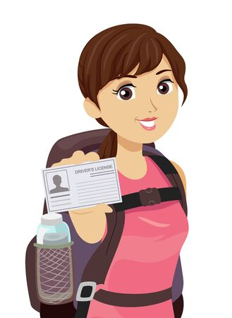 Illustration of a Teenage Girl with Backpack for Traveling and Showing Her Drivers License Standard-Bild