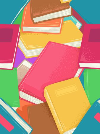 Seamless Background Illustration of Different Books 写真素材