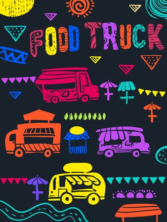 Illustration of Several Food Trucks with Pennant Flags, Umbrella Tables and Lettering Stock Photo