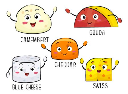 Illustration of Different Kinds of Cheese Mascot from Camembert, Gouda, Cheddar, Blue and Swiss
