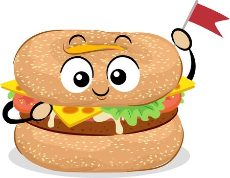 Illustration of a Bagel Burger Mascot Holding a Tiny Toothpick Flag