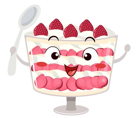 Illustration of a Strawberry Trifle Mascot Holding a Spoon