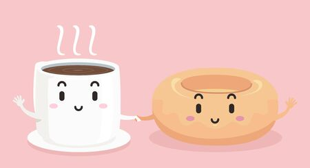 Illustration of a Cup of Coffee Mascot Holding Hands with a Donut Stok Fotoğraf - 130760285