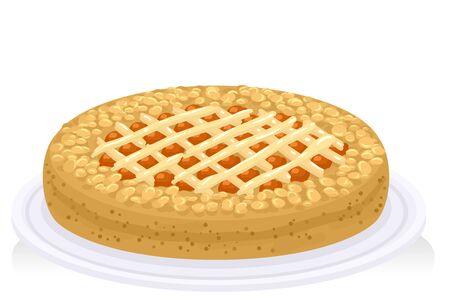 Illustration of a Linzer Torte Austrian Tart on Plate