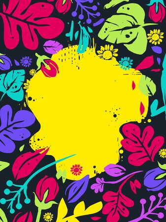 Background Illustration of a Floral Tropical Leaves and Flowers Frame in Wild and Vivid Colors Stok Fotoğraf