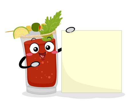 Illustration of a Caesar Drink Mascot Holding and Pointing to a Blank Board