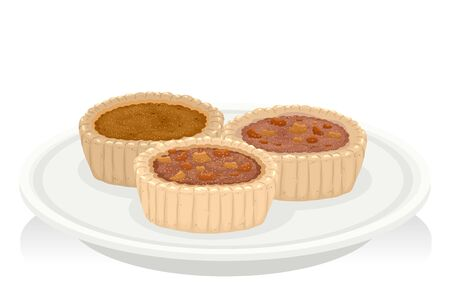 Illustration of Butter Tarts Pastry on Plate