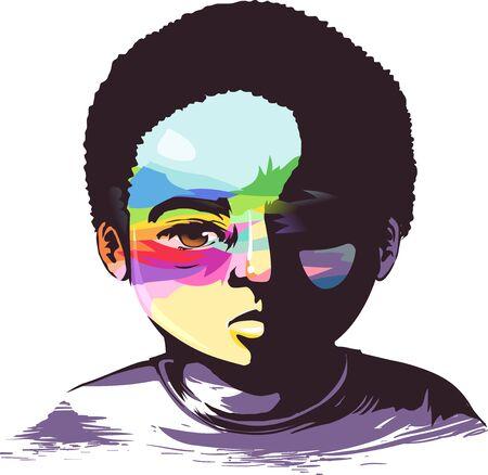 Illustration of a Sad Black Kid Boy with Rainbow Paint on Face Reklamní fotografie