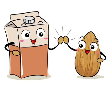Illustration of an Almond Mascot with a Milk Box Mascot