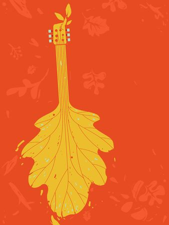 Illustration of an Autumn Leaf as Guitar for a Fall or Autumn Music Festival Poster Design Foto de archivo - 130760313