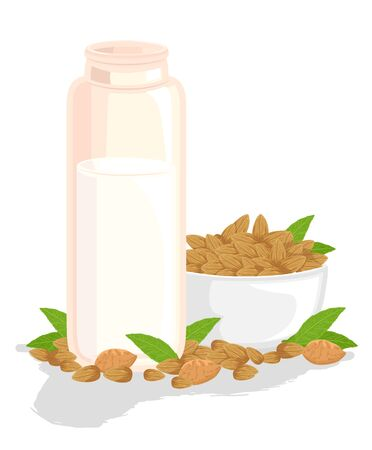 Illustration of Almond Milk on Container with a Bowl of Almonds