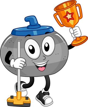 Illustration of a Curling Stone Mascot Holding a Broom and a Trophy Banque d'images - 130760319