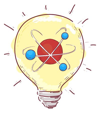 Illustration of a Light Bulb with an Atom Inside