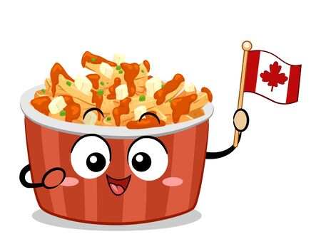 Illustration of a Poutine Bowl Mascot Holding a Small Canadian Flag Stock Photo