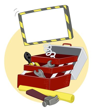 Illustration of an Open Construction Toolbox with Hammer, Pliers, Wrench and a Blank Board